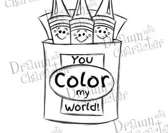 "Crayons, ""You Color My World"" Digital Stamp/ KopyKake Image-F4-CRAYCOLOR"