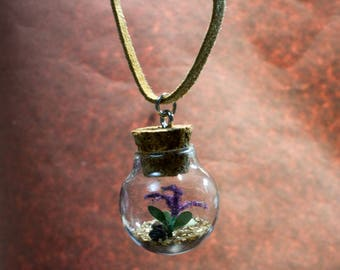 Terrarium Necklace, Flower Necklace, Purple Flower, Miniature, Nature Jewelry, Boho