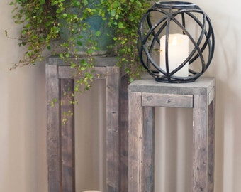 Wooden Lantern, Wooden Plant Stand, Rustic Plant Stand