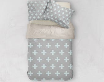Grey + Blue Duvet, Scandinavian Bedding, Swiss Cross Decor, Doona Cover, Duvet Cover Queen, King Duvet Cover Set, Twin Duvet Cover, Doona