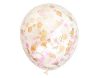 "Confetti Balloon - Blush Pink and Rose Gold - Choose 12, 16, 18, 36 inch Large & Small - Ivory Copper 1"" Circle Filled - Tissue Paper Decor"