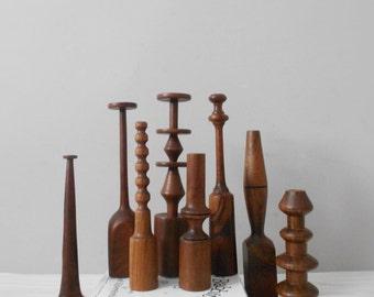 vintage set of carved natural wood sculpture / sticks / scandinavian / danish / candleholders / candlesticks / teak / mid century modern