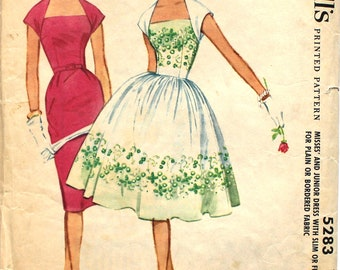 UNCUT 1950's Wedgeneck Dress with Slim or Full Skirt Bust 34 McCall's 5283 Vintage Sewing Pattern