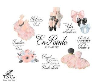 Ballet clipart - Floral Watercolor clipart - Watercolor flower clipart - Ballet Print - Ballet pointe shoes - Commercial use clip art - TNCo