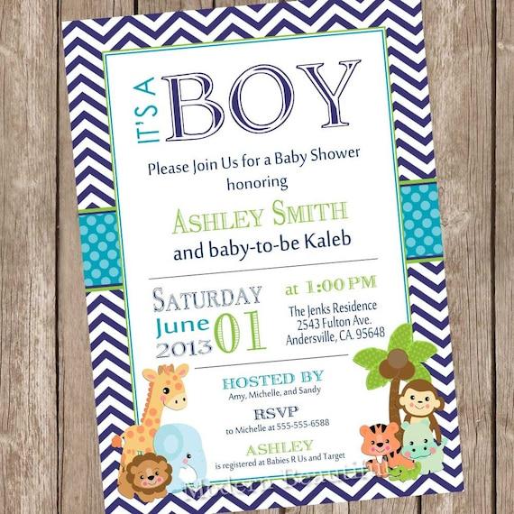 Itu0027s A Boy Jungle Baby Shower Invitation Jungle Chevron