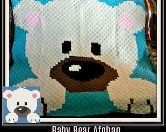 Baby Bear Afghan White, C2C Graph, Written Word Chart, Bear C2C Graph, Crochet Pattern