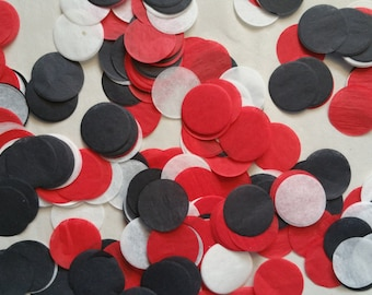 ONLY 1.00, 200 Pieces, 1 Inch Tissue Paper Circle Confetti, Atlanta Falcons, Red Black White, Balloon Confetti, Table Sprinkle, Wedding