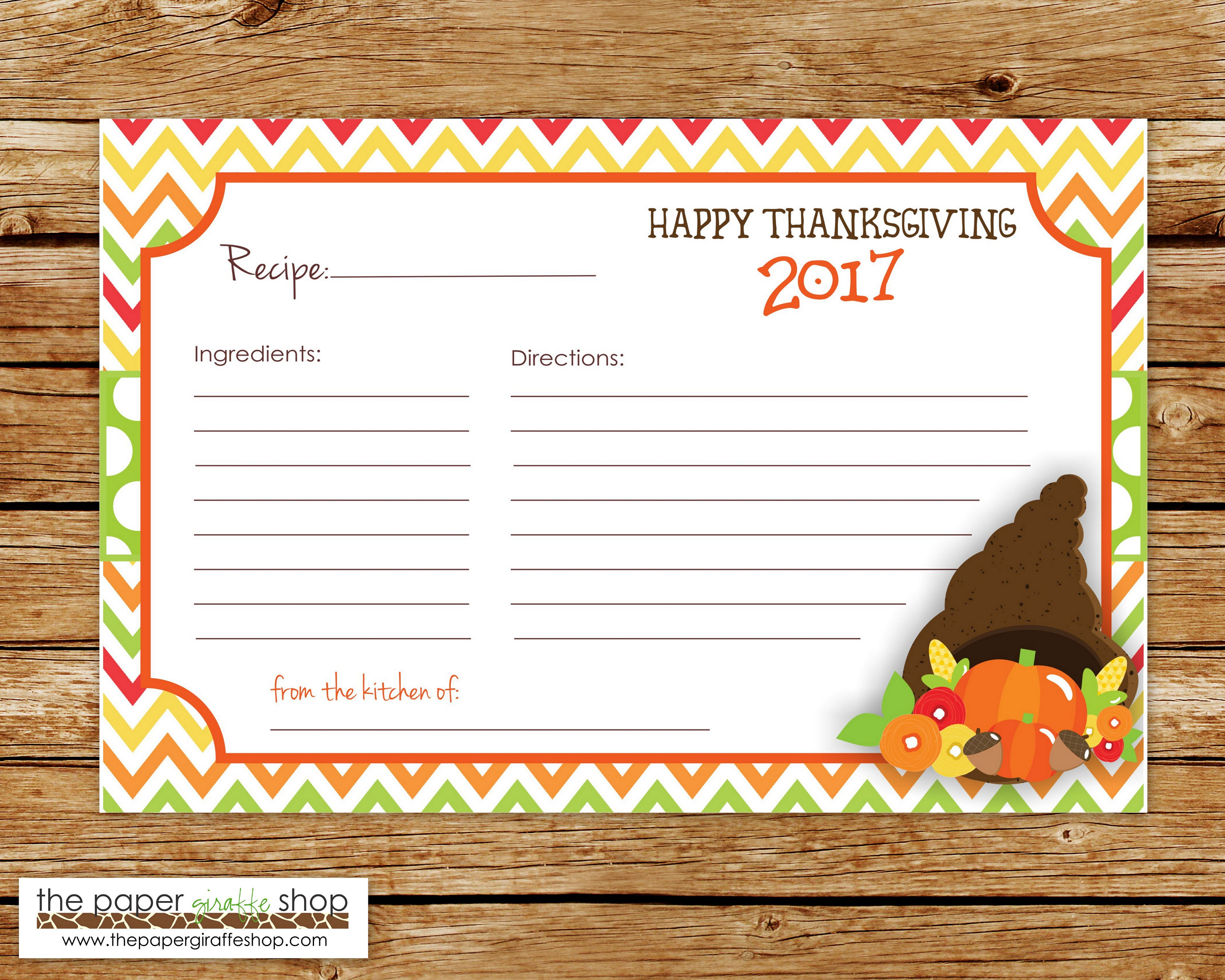 Thanksgiving recipe card 2017 thanksgiving recipe cards zoom kristyandbryce Image collections