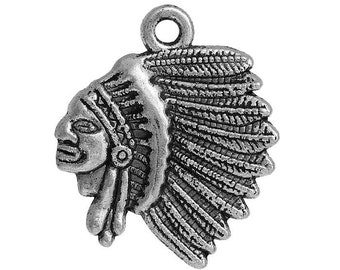 10 Indian Chief Head Charms in Silver Tone - C2504