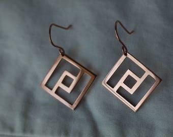 Copper Square Earrings-Geometric Design Earrings-Copper Wedding Earrings-Gifts for Her