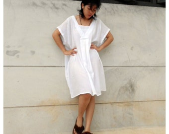 Custom Made Boho Tunic Chic  Short White Cotton  Comfy  Loose Summer    Dress  one fit all most S-L (H)