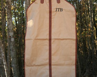 Monogrammed Mens Custom Garment Bag Tan Canvas Personalized Suit Bag