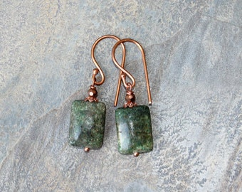 Green Earrings, Jasper Earrings, Copper Earrings, Natural Stone Earrings, Green Jewelry, Bohemian Earrings, Green Stone Earrings, Handmade