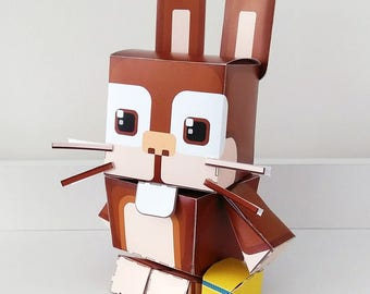 MILK Chocolate Bunny Rabbit DIY Paper Toy Craft Activity – Super craft gift for boys and girls, makes a great easter craft activity