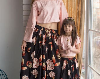 Matching Skirts with cropped top - Mommy Baby Matching Outfits - Mom & Me, Baby mommy matchy matchy, Mini Me, Twinning, Matching tops