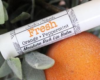 Lip Balm Orange + Peppermint-  Naturally SPF - No Parabens - non-GMO- Organic - Moisturizing - Tastes Amazing!