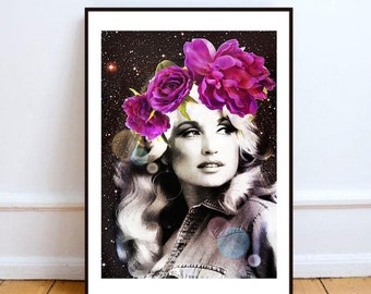 "Dolly Parton art print, surreal art print, portrait Dolly Parton print art, Dolly pop art poster, mixed media collage art - ""Holy Dolly""."