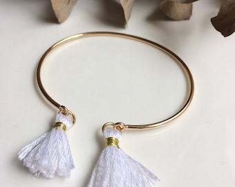 ELÉA bracelet gold and white PomPoms