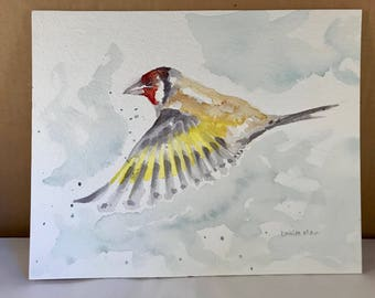 Original watercolour painting of goldfinch flying - Yellow Goldfinch in Flight, Watercolour Goldfinch, Goldfinch Flying, English Goldfinch