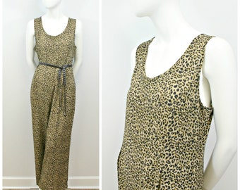 Vintage Leopard Jumpsuit, 90s Sleeveless Loose Fit Romper, Cheetah Print Wide Leg Jumpsuit, Oversize One Piece Leopard Print Jumpsuit Size L