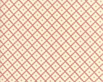 SALE, Farmhouse Reds Ivory on Red Lattice by Minick & Simpson of Moda Fabrics, 14857 13 Sold In Half Yard Amounts