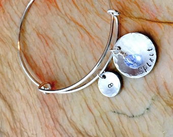 Personalized Charm Bangle Bracelet, Adjustable Bracelet, Stackable Bracelet, Personalized Adjustable Bangle, Your Quote, Name, Mantra, Date