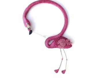 Flamingo necklace  - pink flamingo, unusual jewelry, animal necklace, flamingo jewelry