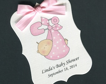 Personalized Baby Shower Favor Tags, baby girl bunting, set of 40