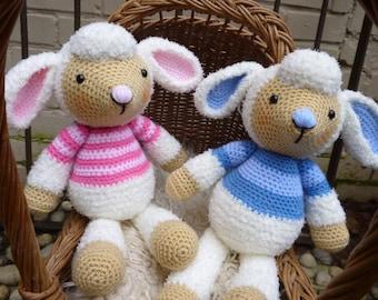 Spring Lamb Dolls, Boy and Girl Sheep - Amigurumi Crochet Pattern