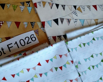 Bunting Fabric DESTASH LOT F1026 Just Under 3.5 yards. See First 2 Images. Rare HTF Colorful Kids Pennant Flag Fabric