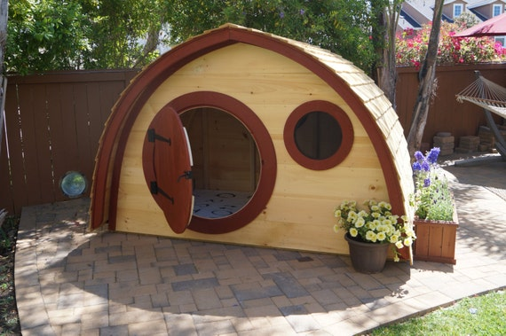 Superb Hobbit Hole Playhouse Kit WITH Cedar Clapboard Roofing: Outdoor Wooden Kids  Playhouse With Round Front Door And Windows, Made To Order