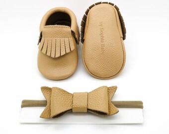 Tan Baby Moccasins, Tassel Fringe Moccasins, Baby Leather Shoes, Genuine Leather Moccs, Toddler Moccasins, Baby Moccs, Baby Shower Gift