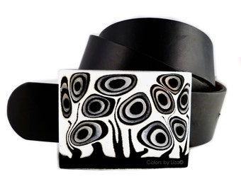 Large Belt Buckle Hand Painted Enamel in Black and White Blossom Inspired Metal Buckle with a Glossy Finish Custom Colors Available