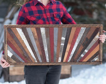 36x15 Sunrise Barn Wood Wall Art Reclaimed   Modern Wood Quilt Design FREE SHIPPING in the USA