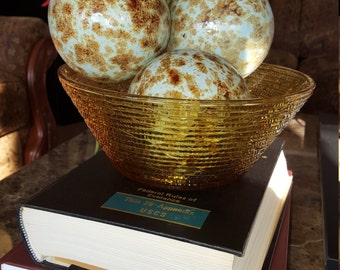 Vintage Anchor Hocking Sereno vintage serving bowl  Amber Gold  Ripple glass 1960s mid century kitchenware AHSR1