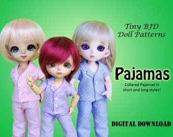 Pajama clothes sewing pattern for 16cm Tiny BJD: PukiFee Lati Yellow Tiny Delf & similar sized dolls