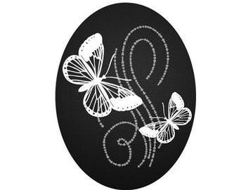 18x25cm, 2 butterflies, white on black