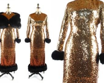 Vintage 50s Sequin Dress // 1950s Sequin Dress // Ombré Dress // High Neck Dress // Long Sleeve Dress // FOX FUR Dress - sz M