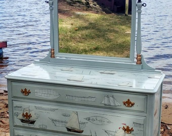 Nautical Dresser and Mirror custom design cottage style furniture