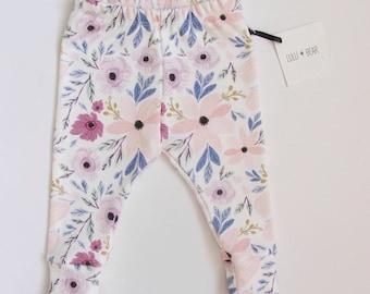 Ready to ship Organic baby leggings in watercolour floral print, baby leggings, baby girl leggings, organic leggings, girl leggings