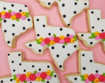 Polka dot floral Texas cookies