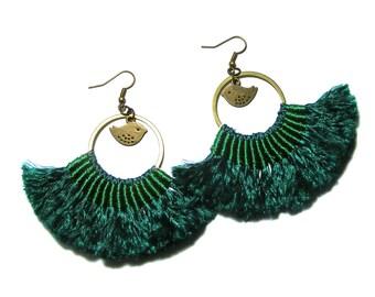 Fan Dangle Earrings, Green Tassel Earrings, Bohemian Style