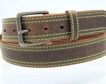 1 1/2 inch Oil Tanned Leather Belt with Neon Green Stitching