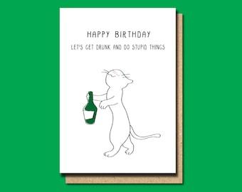Funny birthday card friend, gin card, gin birthday card, funny greeting card, card for her, animal card. cat birthday card, card for him