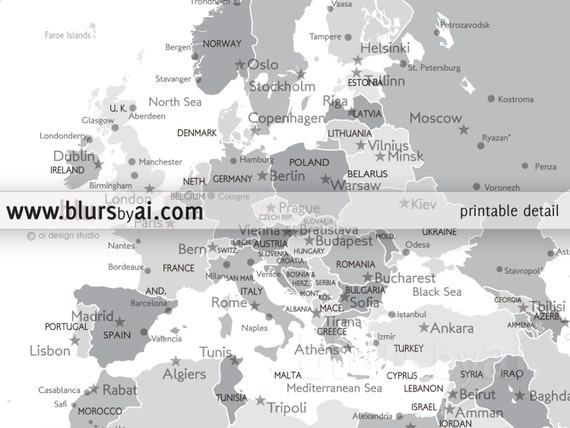 Boyfriend gift large map 60x40 printable world map boyfriend gift large map 60x40 printable world map with capitals cities map for diy travel pinboard grayscale map map141 051 gumiabroncs Images