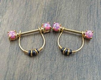 Pink Opal Glitter Gold Nipple Ring Nipple Piercing