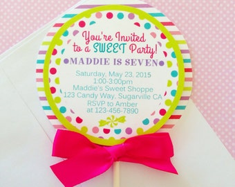 12 candy birthday invitations with envelopes candy buffet 12 lollipop invitations custom printed lollipop invites candy buffet invitations polka dot and stripes invites filmwisefo