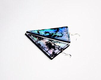 Holographic triangle earrings - club wear earrings - minimalist earrings - 90s club kid - iridescent rainbow jewelry - club wear - space