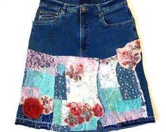 Vintage high waist distressed patchwork denim skirt. Handmade patched denim. Upcycled denim. Gypsy bohemian jean skirt. Patched denim skirt