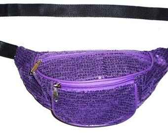 Purple Sequin Fabric Fanny Pack